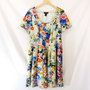 Signature Robbie Bee Floral Fit and Flare Dress
